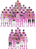All Super Sentai and Power Rangers Pinks by Taiko554