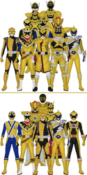 All Super Sentai and Power Rangers Golds by Taiko554