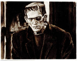 Frankenstein Charcoal Study by bloodedemon