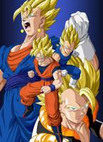 Son Goku - Vegeta  - Vegetto - Gogeta Super Saiyan by Dark-Crawler