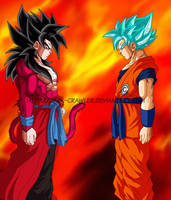 Goku Xeno Super Saiyan 4 Vs Goku Super Saiyan Blue by Dark-Crawler
