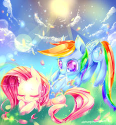 need a blanket?fluttershy and rainbow dash(MLP) by AquaGalaxy