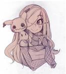Aria and Mimikyu by Parororo