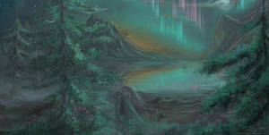 Lakes and Auroras by hotpinkscorpion