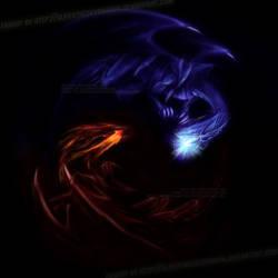 Red vs Blue Eyes Dragons by slifertheskydragon