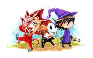 Yami Judai and Yusei Trick or Treat by slifertheskydragon