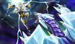Utopia the Lightning vs Crystal Wing Dragon by slifertheskydragon