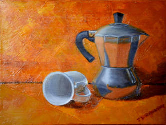 Coffe Pot and Cup by DennisWRowntree