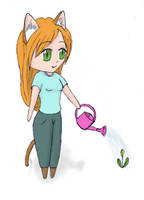 Watering catgirl by frolka
