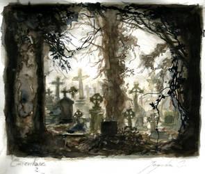 Graveyard (watercolours) by CyanBerryy