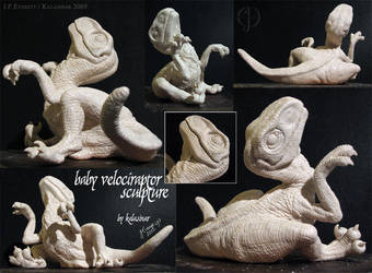 Baby Velociraptor Sculpture by Kalasinar