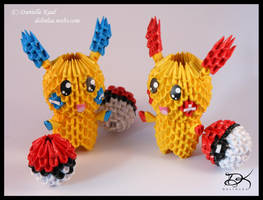 Plusle and Minum - 3D Origami -  + Diagram by Delinlea