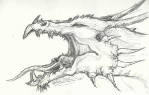 Roaring Dragon Head Sketch by ThousandWordsToSay