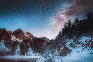 Mountains and a galaxy by HendrikMandla