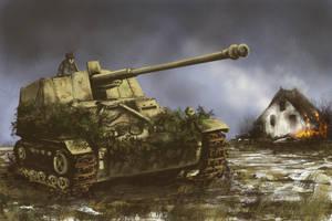 NASHORN tank destroyer - Alsace 1945 by derbz