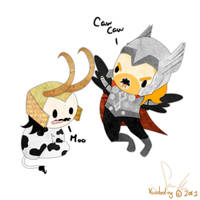 Loki Cow and Bird Thor by VooDooling