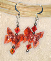 Orange Butterfly Earrings by tiranaki
