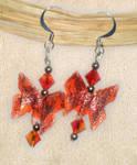 Orange Butterfly Earrings by tiranaki