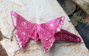 Pink Butterfly Barrette by tiranaki