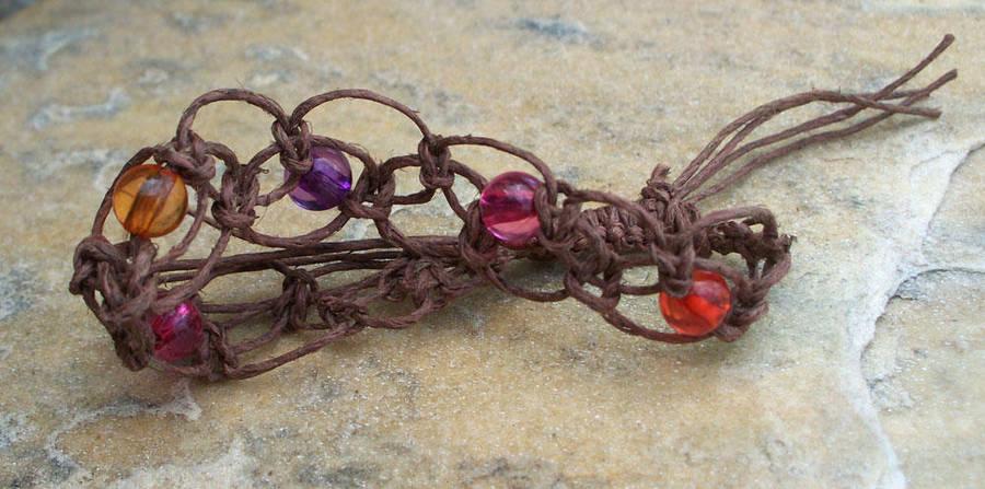 Brown Hemp Macrame Bracelet by tiranaki