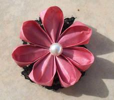 Rose Pink Paper Kanzashi by tiranaki