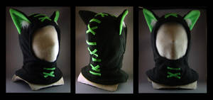 Hoodie Hat Stitches Lime by MissRaptor