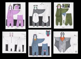 Various kigurumi designs by MissRaptor