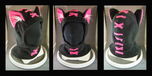 Hoodie Hat Stitches Hot Pink by MissRaptor