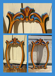 Rosepainted mirror frame woodcarving by LARvonCL
