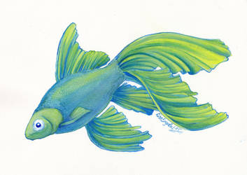 Aquarelle - Echo the goldfish by LARvonCL