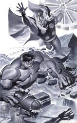 Hulk battles Thor by ChristopherStevens