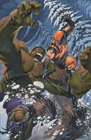 Hulk battles Wolvie by ChristopherStevens