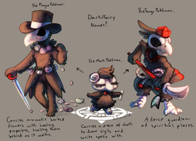 Dark/Fairy Fakemon! (they have names already ok) by mercurybird
