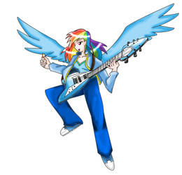 Guitar Hero Rainbow Dash (Humanized) by blossomxdexter4eva