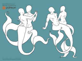 F2U - Mermaid Pose Couple Set by CourtneysConcepts