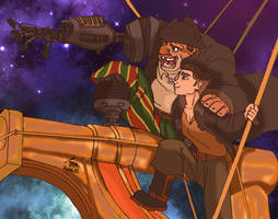 Treasure Planet-Silver and Jim by Issoman