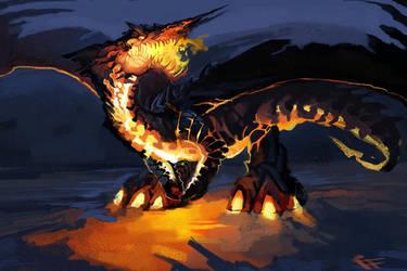Volcanic Dragon Quickie Speedpaint by ALRadeck