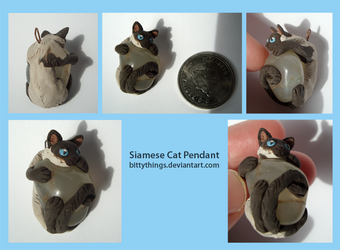 Siamese Cat Stone Pendant - SOLD by Bittythings