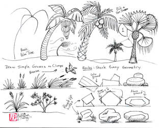 Draw Palms Grass Wind and Rock by Diana-Huang