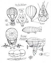 Draw Hot Air Balloons and Air Ships by Diana-Huang