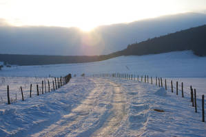 Snow Road and Sunset by NicamShilova