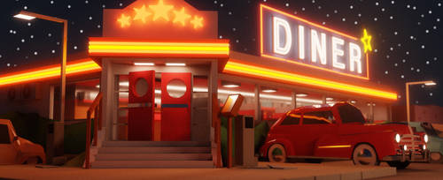 1950s diner - lowpoly by vollyimnetz