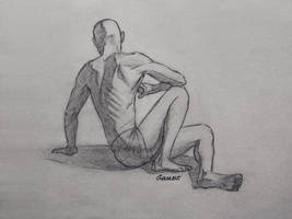 Charcoal Figure Sketch 43/100 by AngelGanev