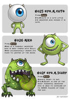 #025 Eye.M.Cute - #026 Mike - #027 Eye.M.Scary by Ry-Spirit