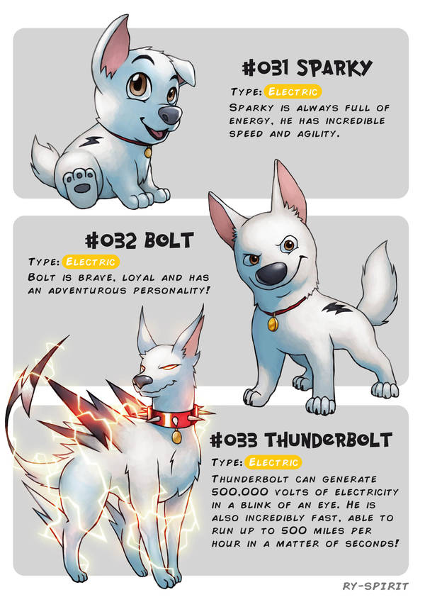 #031 Sparky - #032 Bolt - #033 Thunderbolt by Ry-Spirit