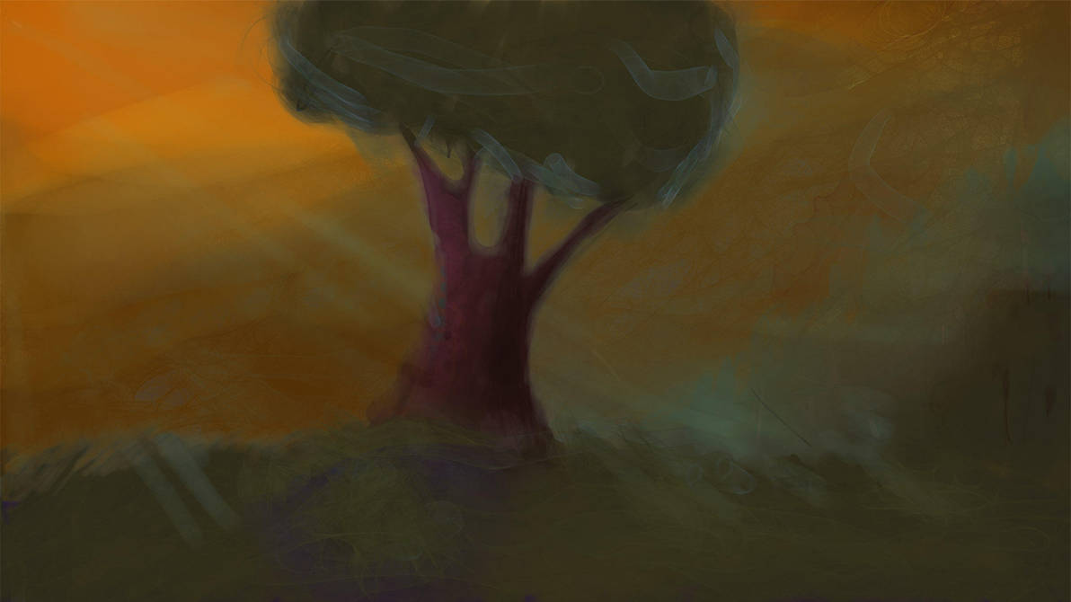 The lonely tree on the sunday evening by weirdMushroom