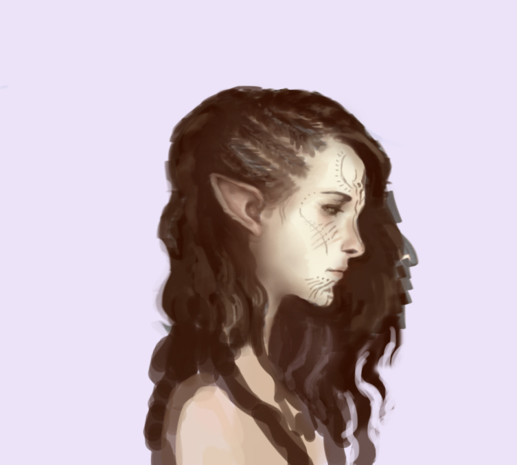 pre-inquisition hair style of my lavellan by Faietiya