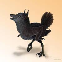 Melanistic Peryton Chick by IllustratedMenagerie