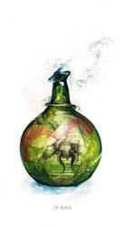 Inktober '18 - #18 Bottle by toedeledoki