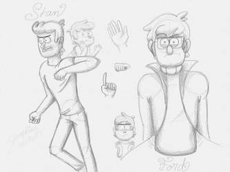 Sketches of Stan and Ford by Serasreraseraphiiine